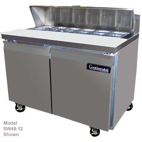 "Continental Refrigerator Standard Line 48"" Sandwich Refrigerator Unit w/ 4 Drawers - 2 section SW48-12-D"