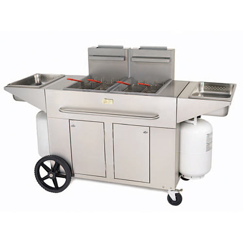 "Crown Verity Gas Outdoor Portable Fryer - 58"" Double Tank PF-2LP"