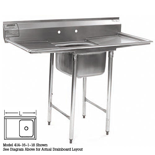 "Eagle 1-Compartment Sink 16"" With 24"" Left Drainboard 414-16-1-24L"