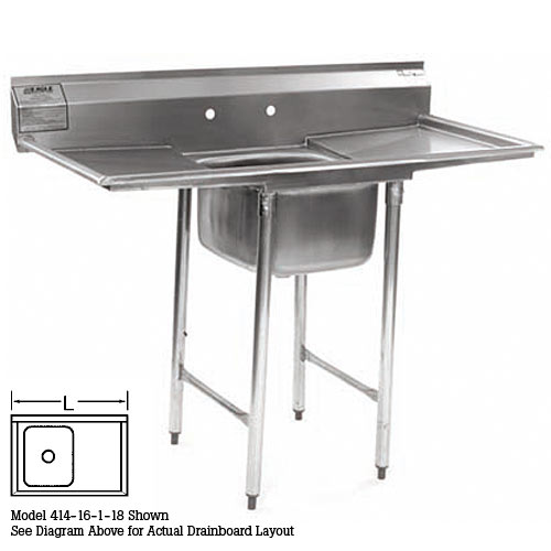 "Eagle 1-Compartment Sink 22"" With 18"" Right Drainboard 414-22-1-18R"