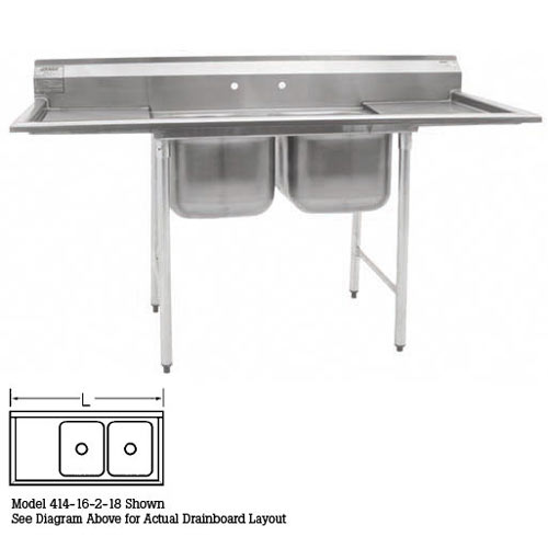 "Eagle 2-Compartment Sinks 22""- Left Drainboard 414-22-2-24L"