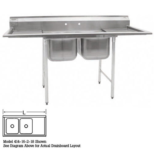 "Eagle 2-Compartment Sinks 22""- Right Drainboard 414-22-2-24R"
