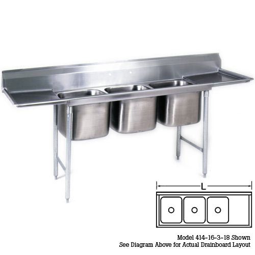 "Eagle 3-Compartment Sinks 16""- Right Drainboard 414-16-3-18R"