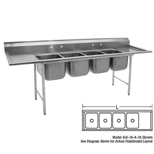 "Eagle 4-Compartment Sinks 16""- Right Drainboard 414-16-4-18R"