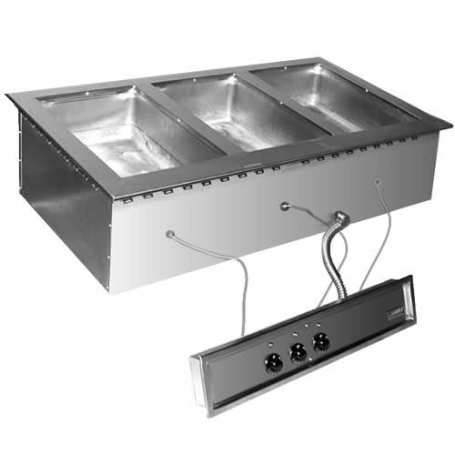 Eagle 3 Well Electric Hot Food Gang Drop-In Unit & Drain SGDI-3-120T-D