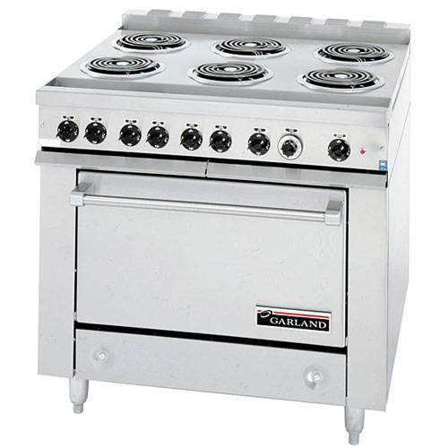 Garland E Series Heavy Duty 6 Open Top Burners Electric Range w/ Storage Base 36ES33