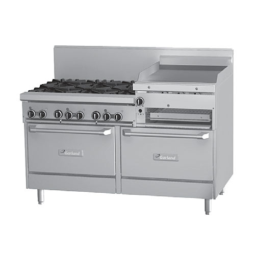 "Garland Starfire Pro Gas Restaurant Range - 6 Burners & 24"" Griddle GF60-6R24RR"