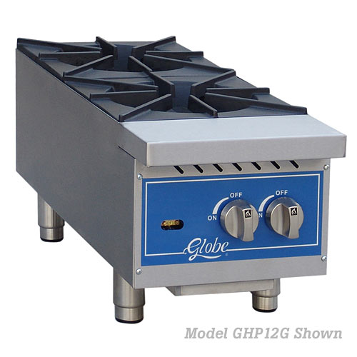 "Globe Gas 12"" Countertop Hot Plate - 2 Burner GHP12G"