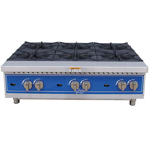 "Globe Gas 26"" Countertop Hot Plate - 6 Burner GHP36G"