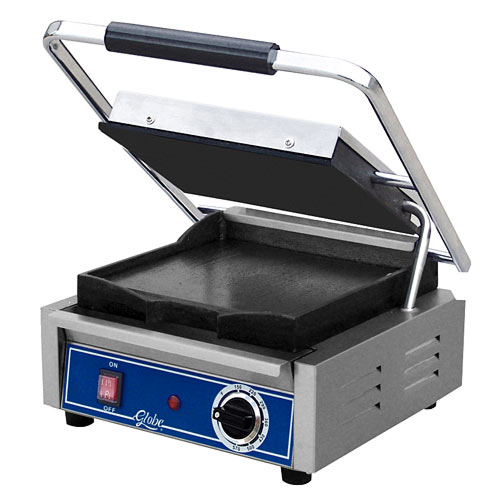 Globe Bistro Series Panini Single Grill w/ Smooth Plates GSG10
