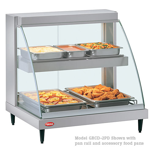 Hatco Curved Designer Heated Display Case- Dual Shelf- 1 Pan GRCD-1PD