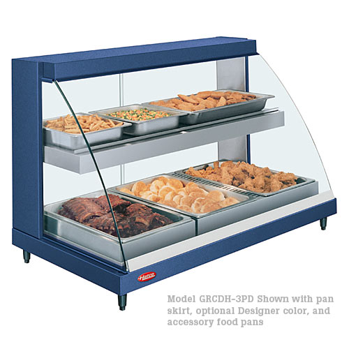 Hatco Curved Designer Heated Display Case- Dual Shelf- 3 Pan GRCD-3PD
