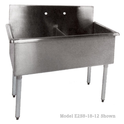 "John Boos Stainless Steel Three Compartment Sink 24"" x 24"" x 12"" B3S8-24-12-X"