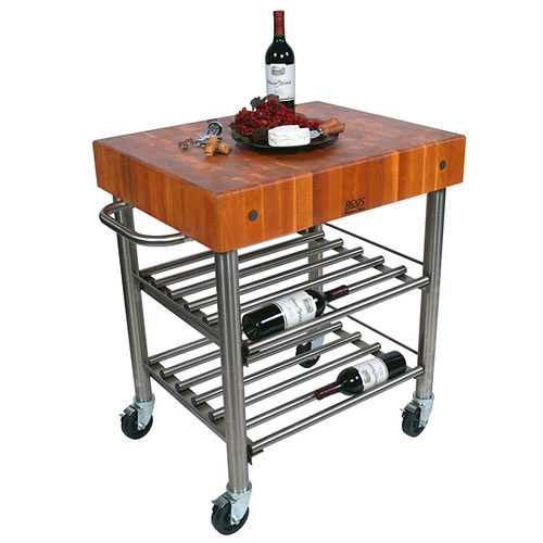 "John Boos Cucina D`Amico Cherry Top Wine Cart - 30"" x 24"" CHY-CUCD15WC"