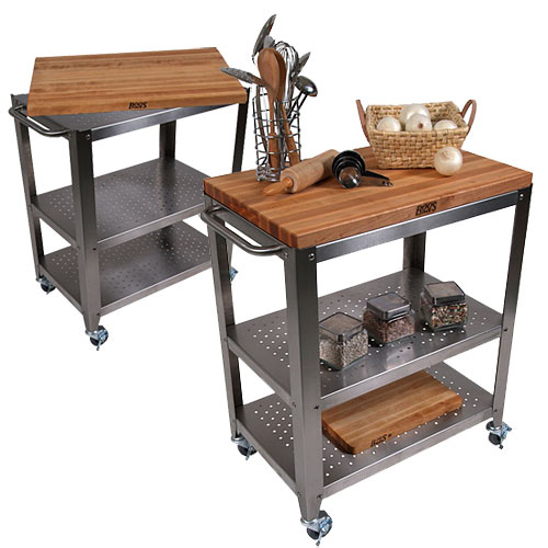 John Boos Cucina Culinarté Kitchen Cart w/ Removable Maple Cutting Board CU-CULART30