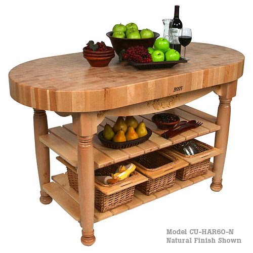 "John Boos Harvest Oval 4"" Maple Top Work Table - 60"" x 30"" CU-HAR60"