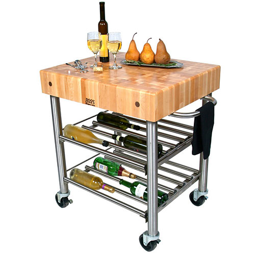 "John Boos Cucina D`Amico Maple Top Wine Cart - 30"" x 24"" CUCD15WC"