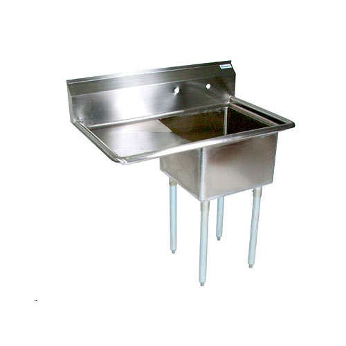 "John Boos Stainless Steel One Compartment Sink w/ 18"" left drainboard E1S8-1620-12L18X"