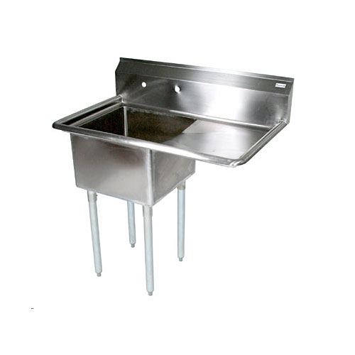 "John Boos Stainless Steel One Compartment Sink w/ 18"" right drainboard E1S8-1620-12R18X"