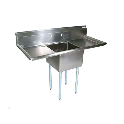 "John Boos Stainless Steel One Compartment Sink w/ 2 18"" drainboards E1S8-1620-12T18X"