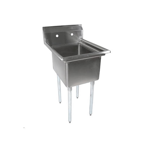 "John Boos Stainless Steel One Compartment Sink 18"" x 18"" x 12"" E1S8-18-12-X"
