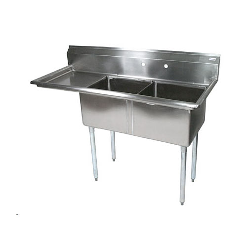 "John Boos Stainless Steel Two Compartment Sink  w/ 18"" left drainboard E2S8-1620-12L18X"