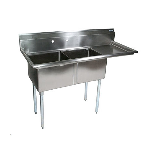 "John Boos Stainless Steel Two Compartment Sink  w/ 18"" right drainboard E2S8-1620-12R18X"