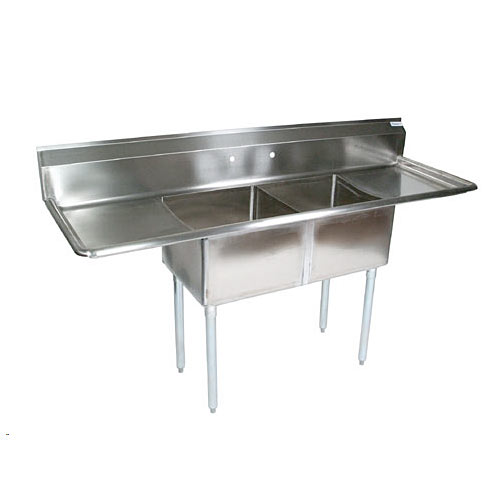 "John Boos Stainless Steel Two Compartment Sink 18"" x 18"" x12""/ 2 18"" drainboards E2S8-18-12T18-X"