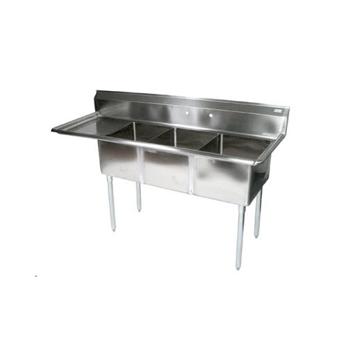 "John Boos Stainless Steel Three Compartment Sink 18"" x 18"" x 12"" w/ 18"" left drainboard E3S8-18-12L18-X"