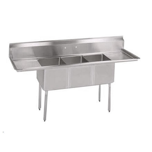 "John Boos Stainless Steel Three Compartment Sink  w/ 2 18"" drainboards E3S8-1620-12T18X"