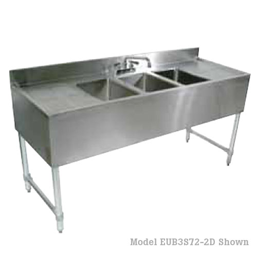 "John Boos Heavy Duty 2 Compartment Bar Sink w/ Right Drainboard- 48"" EUB3S48-1RD-X"