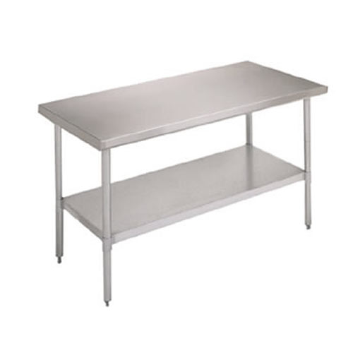 "John Boos Ecomony S/S Flat Top Work Table w/ Galvanized Base & Shelf - 72"" x 24"" FBLG7224-X"