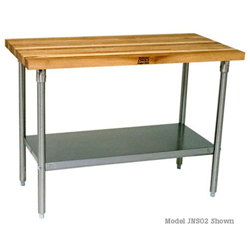 "John Boos Maple 1-1/2"" Top Work Tables w/ Galvanized Base & Shelf - 72"" x 24"" JNS04"