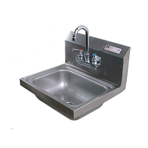 John Boos Stainless Steel Wall Mount Hand Sink w/ Splash Mount Faucet PBHS-W-1410-P-X