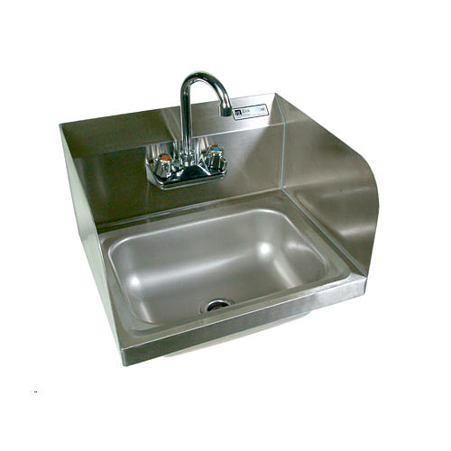 John Boos Stainless Steel  Wall Mount Hand Sink w/ Side Splashes PBHSW-1410PSSLRX