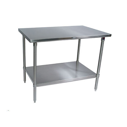"John Boos 300 Series S/S Flat Top Work Table w/Galvanized Base- 72"" x 24"" ST6-2472GSK-X"