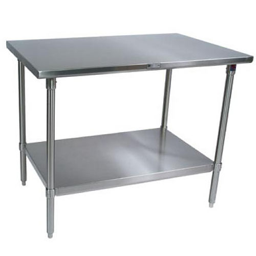 "John Boos 300 Series Stainless Steel Flat Top Work Table- 30"" x 24"" ST6-2430SSK-X"
