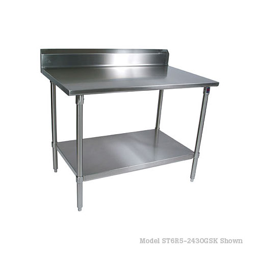 "John Boos 300 Series S/S Riser Top Work Table w/Galvanized Base- 72"" x 24"" ST6R5-2472GSK-X"