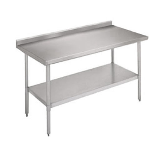 "John Boos Ecomony S/S Riser Top Work Table w/ Galvanized Base & Shelf - 96"" x 30"" UFBLG9630-X"