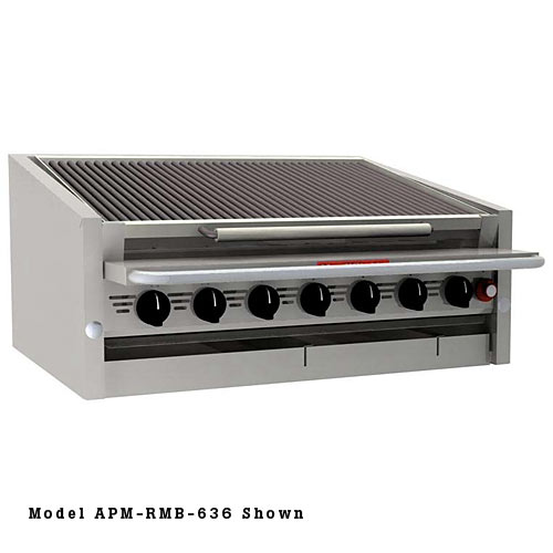"MagiKitch'n Countertop Gas Ceramic Coal Charbroiler 72"" APM-SMB-672"