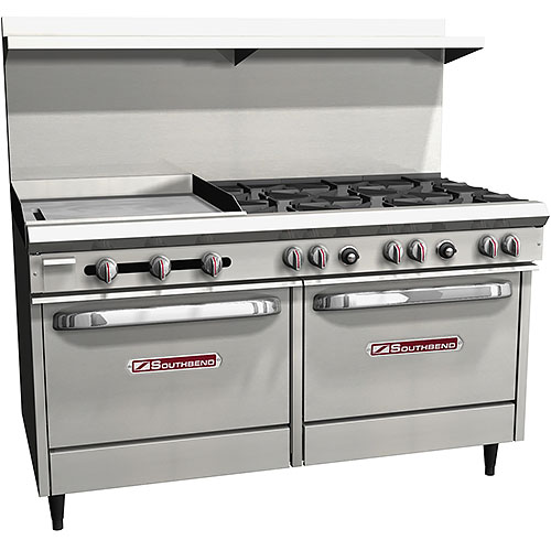 "Southbend S-Series Gas Restaurant Range 6 Burners 24"" Griddle  w/ 2 Ovens S60DD-2GL"