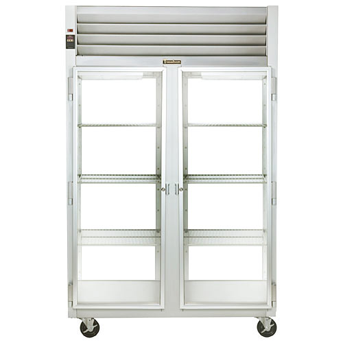 Traulsen G Series 2 Section Glass Full Door Pass Thru Refrigerator - Hinged L-R G21014P