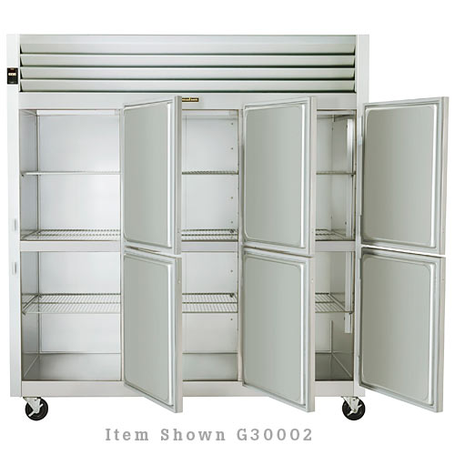 Traulsen G Series 3 Section Solid Half Door Reach-in Refrigerator - Hinged L-R-R G30000