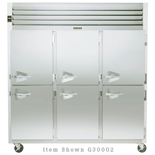 Traulsen G Series 3 Section Solid Half Door Reach-in Refrigerator - Hinged L-L-R G30001
