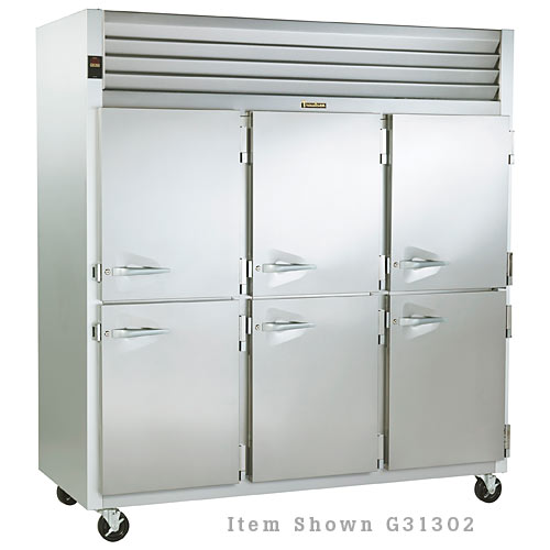 Traulsen G Series 3 Section Solid Half Door Reach-in Freezer - Hinged L-L-R G31301