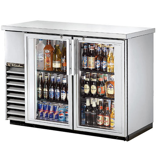 "True Glass Swing Door Stainless Steel 24"" Back Bar Cooler TBB-24-48G-S-LD"