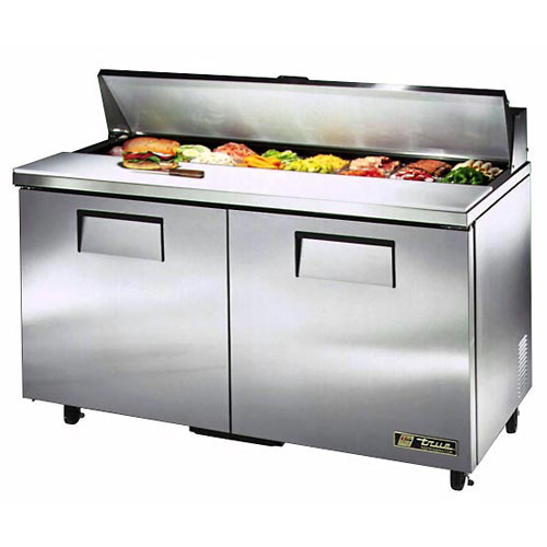"True 60"" Solid Door Sandwich/Salad Unit - 16 Pans TSSU-60-16"