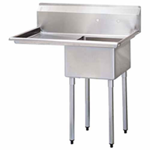 "Turbo Air 1 Compartment Sink w/Left Drainboard 18"" TSA-1-12-L1"