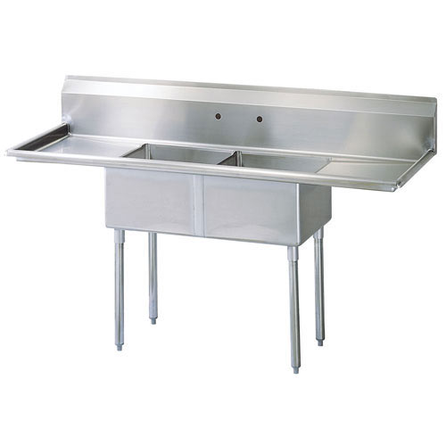 "Turbo Air 72"" - 2 Compartment Sink w/Double Drainboards TSA-2-12-D1"
