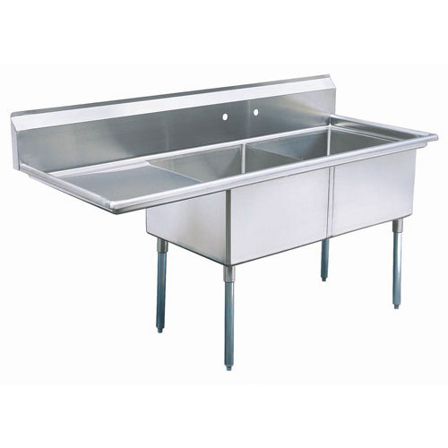 "Turbo Air 2 Compartment Sink w/Left Drainboard 24"" TSB-2-L2"